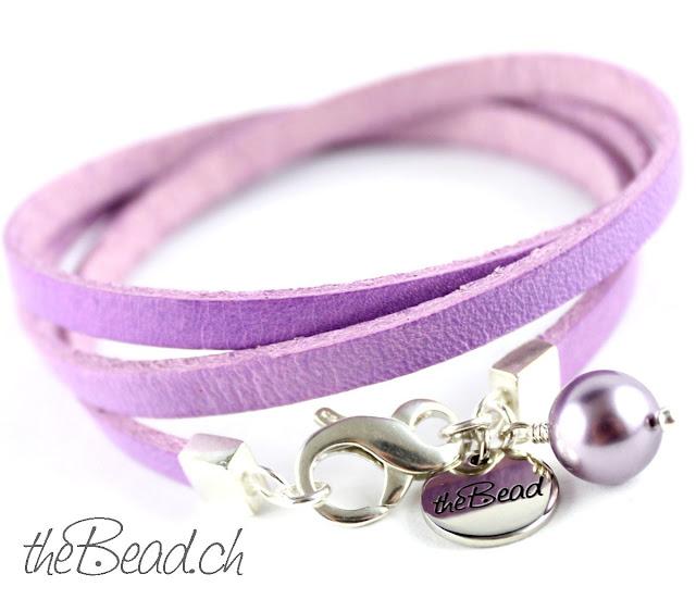 Lederarmband CROCUS in Pastellfarbe violett