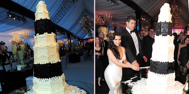 O bolo de casamento de Kim Kardashian