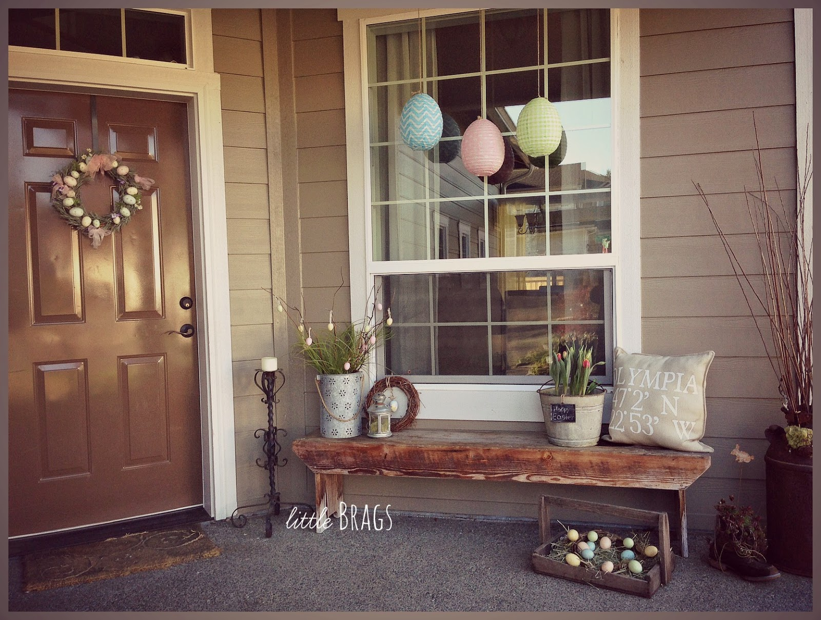 little brags  a little easter decorating on the front porch