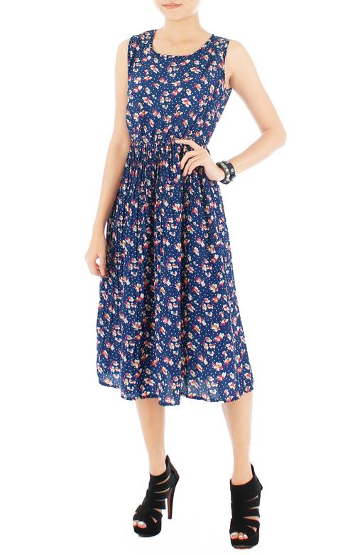 Billlowy Bloom Pleated Floral Dress