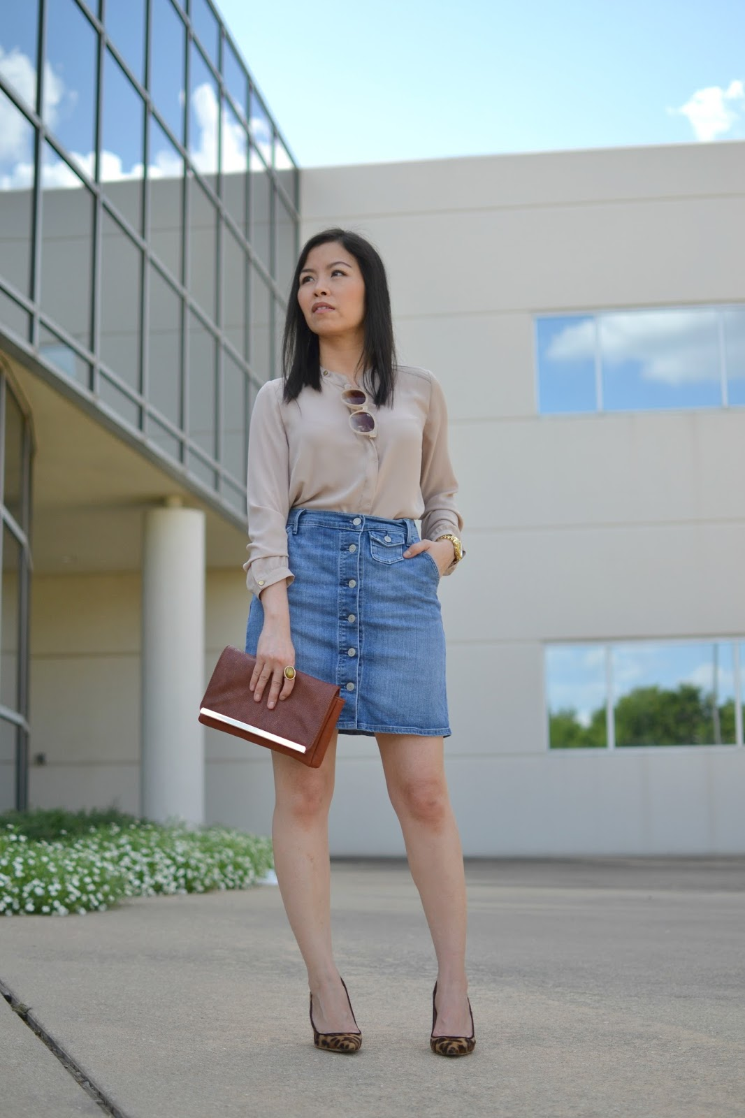 Style and Cappuccino  70u0026#39;s Vibe Silky Long Sleeve Blouse u0026 Denim Skirt