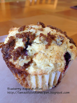 Muffins with a delicious combination of fresh blueberries and maple syrup.