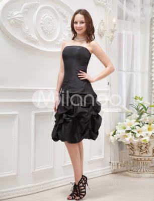 Noir élégant bustier à volants de taffetas robe de bal