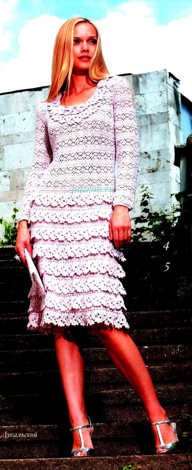 Нарядное сиреневое платье крючком. 50212