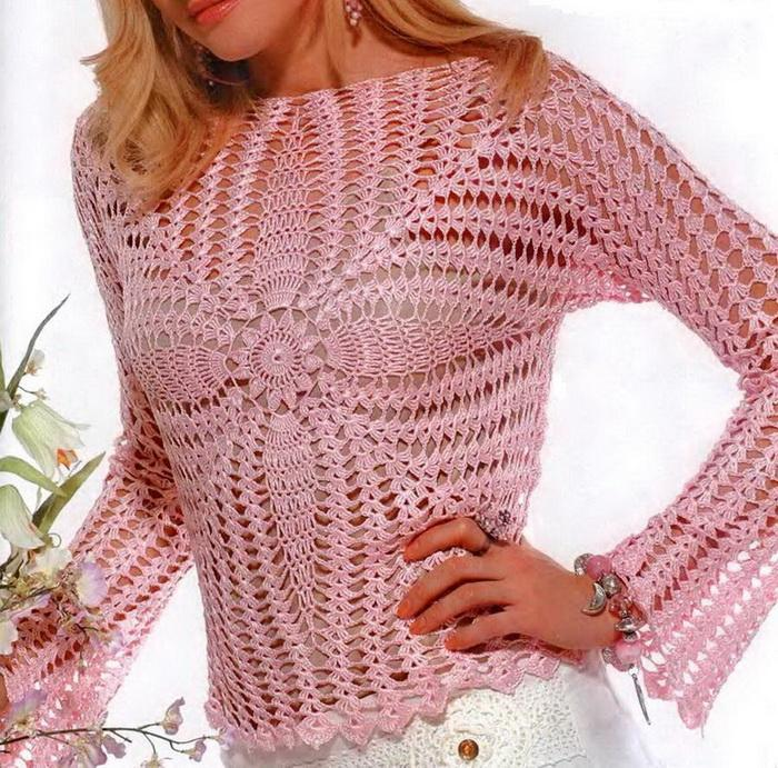 Free Crochet Pattern Lace Sweater : Crochet Sweaters: Sweater - Crochet Sweater for Ladies