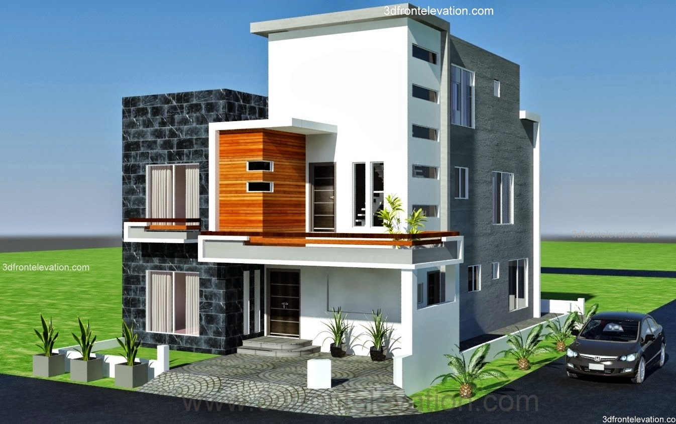 3d front 10 marla modern architecture for Corner house plans