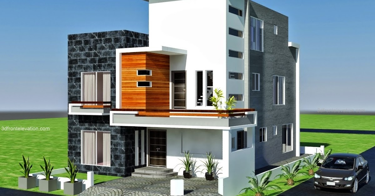 3d Front Elevation Of Small Houses : D front elevation marla modern architecture