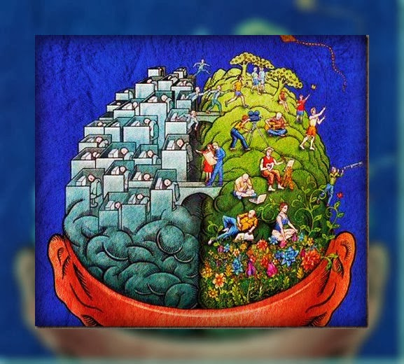 Representación de ambos hemisferios. Izq-oficina.Der-jardín. Ambos se comunican