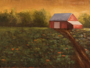 Barn With Pumpkins 12x16