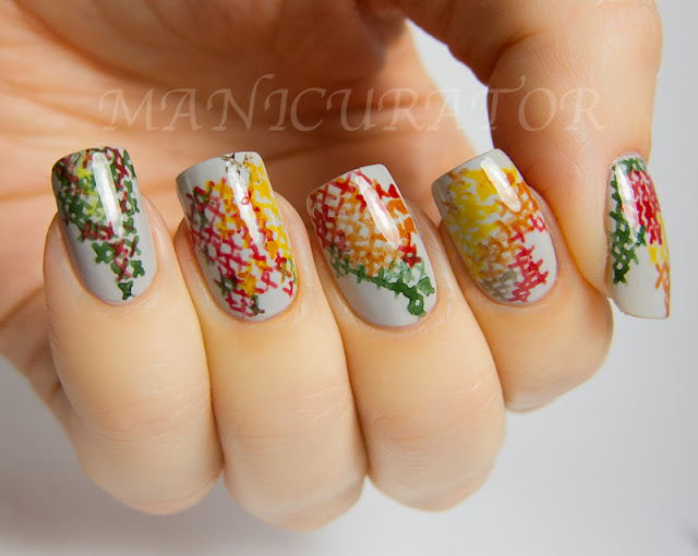 : 31DC: Day 26 - Inspired by a pattern (cross stitch nail art