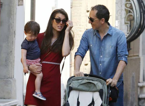 Charlotte Casiraghi and Gad Elmaleh with their baby Raphael walking and shopping in the streets of Saint-Tropez, France