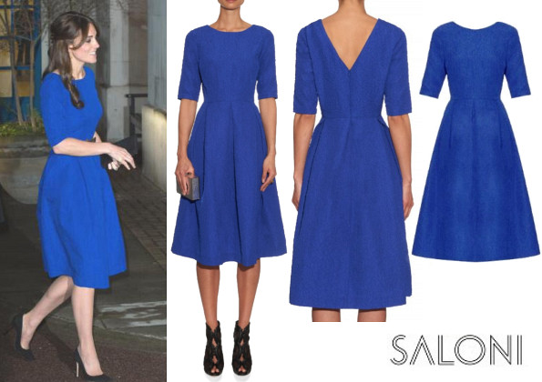 Catherine, Duchess Of Cambridge's SALONI Martine Crinkle-Effect Dress