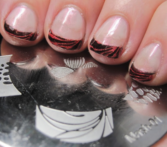 French tips with Glitter Gal Red 3D/Holo peeking through the black stamp