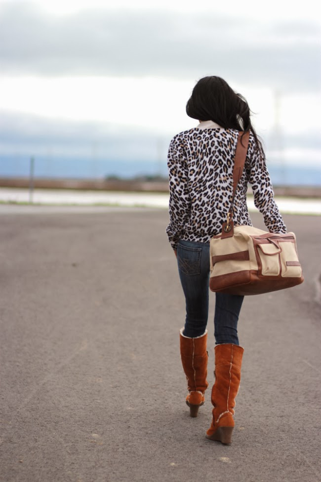 leopard sweater ugg boots winter outfit