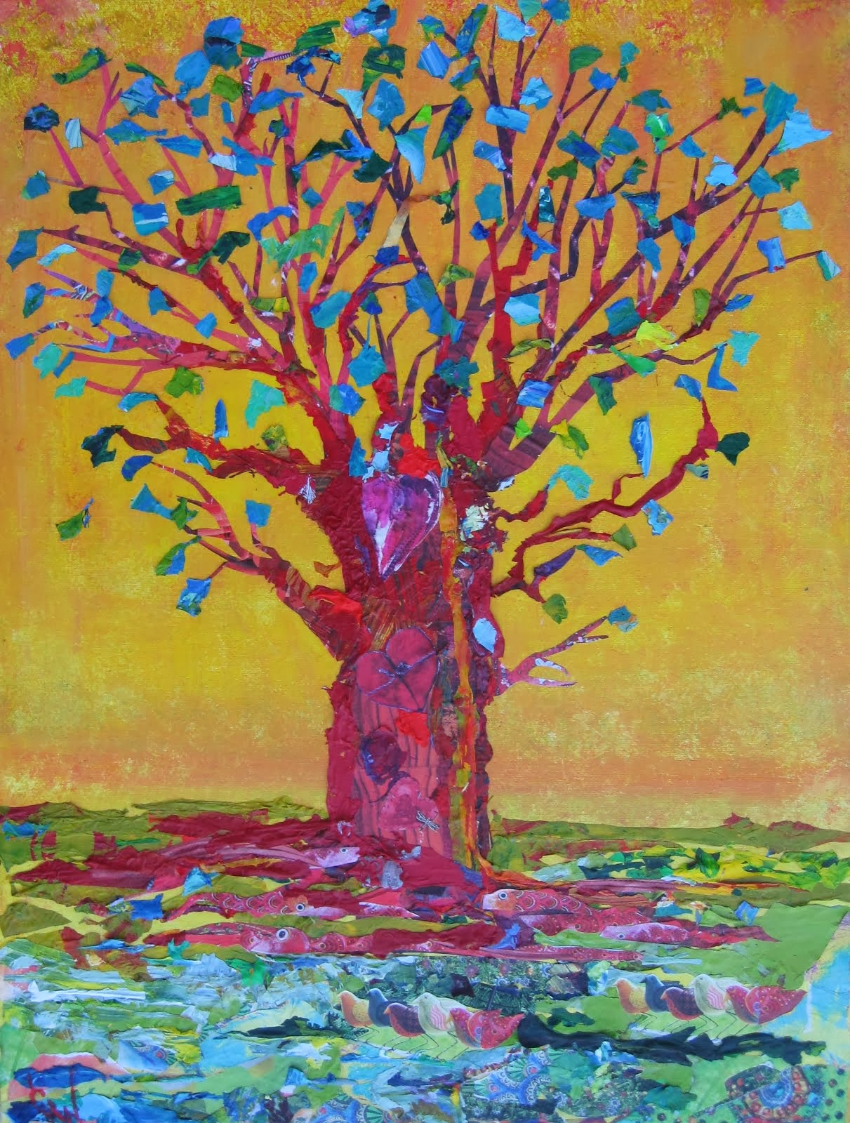 Red Tree With Blue Leaves By The River