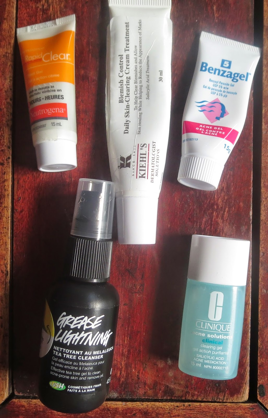 a picture of Spot Treatments ; Clinique, Grease Lightning, Kiehl's, Benzgel, Neutrogena