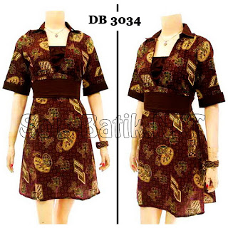 DB3034 Model Baju Dress Batik Modern Terbaru 2013