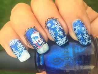 Snowflakes and a Snowman Xmas Nails - AliExpress plates MR-01 & MR-02