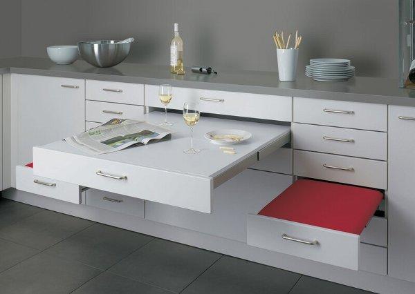 Marzua mesa y asientos integrados en los muebles de cocina for Asientos esquineros para cocina