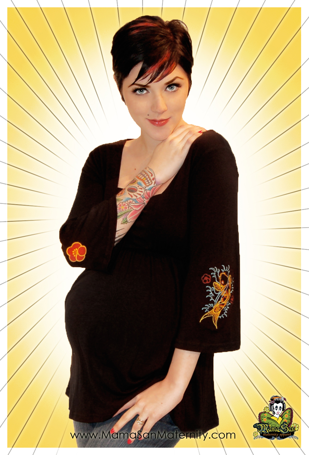 Punk maternity clothes and accessories to suit your edgy style. Skulls, stripes, tattoo prints, Lolita, goth and rockabilly maternity style can be found here. Rock maternity clothes for rocker chics and urban clothing styles for alternative moms.