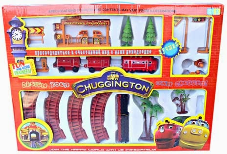 Kado ulang tahun berupa rangakaian set kereta api untuk anak laki laki.