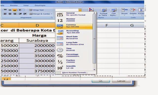 Mengubah format sel dari Umum Menjadi Mata Uang di Excel