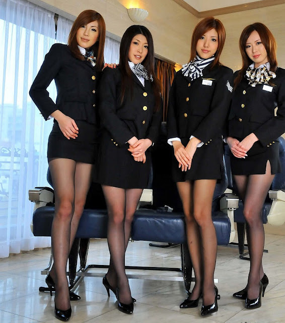 Pretty Japanese Stewardess in Black Suit