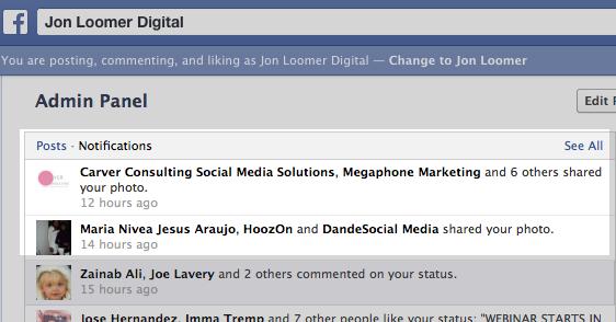thông báo khi share bài lên facebook