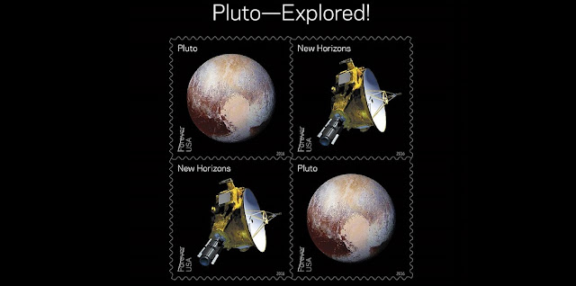 Pluto Explored! In 2006, NASA placed a 29-cent 1991 'Pluto: Not Yet Explored' stamp in the New Horizons spacecraft. In 2015 the spacecraft carried the stamp on its history-making mission to Pluto and beyond. With this stamp, the Postal Service recognizes the first reconnaissance of Pluto in 2015 by NASA's New Horizon mission. The souvenir sheet of four stamps contains two new stamps appearing twice. The first stamp shows an artists' rendering of the New Horizons spacecraft and the second shows the spacecraft's enhanced color image of Pluto taken near closest approach. Credits: USPS/Antonio Alcalá © 2016 USPS