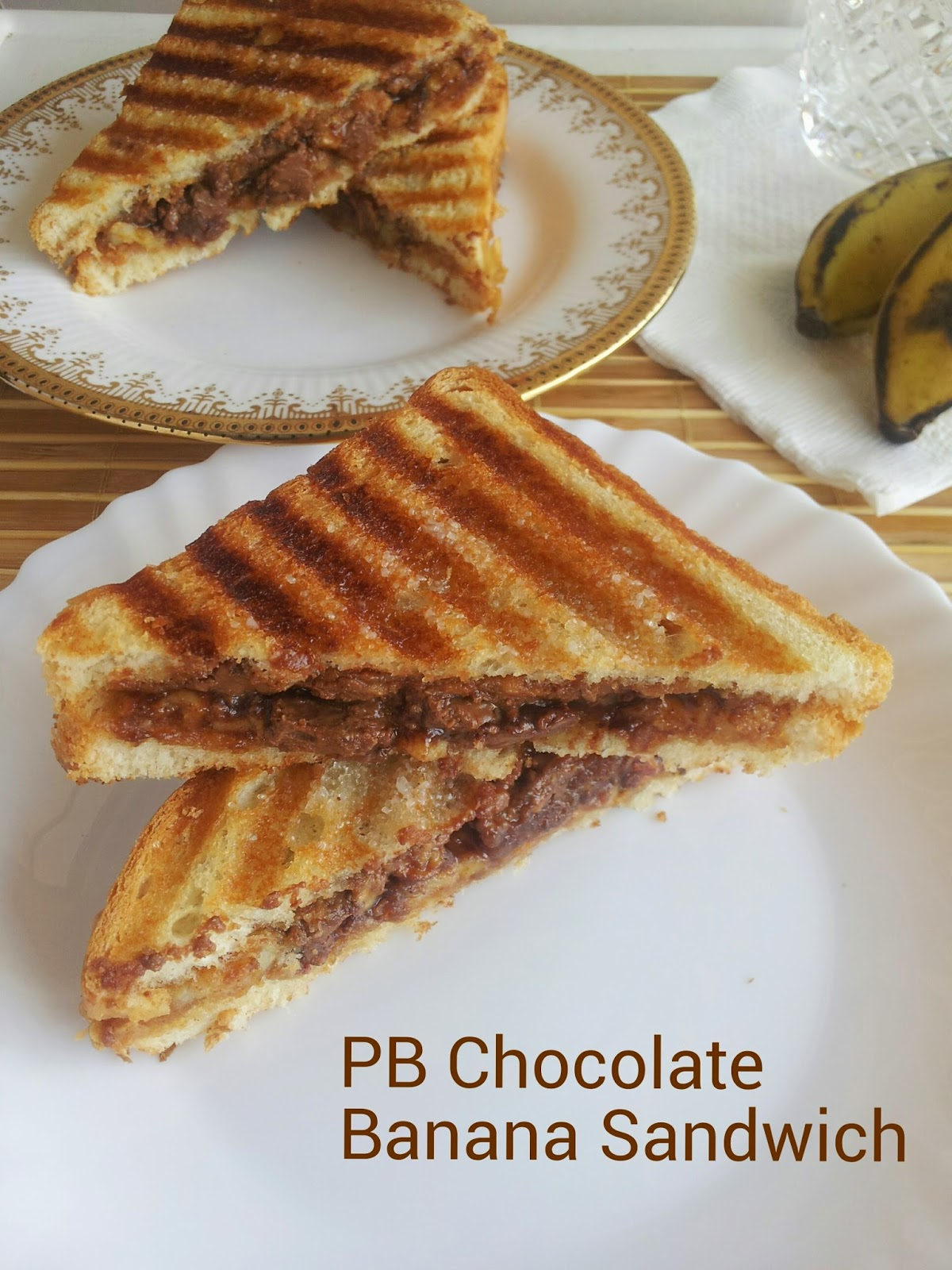 peanut butter chocolate banana sandwich