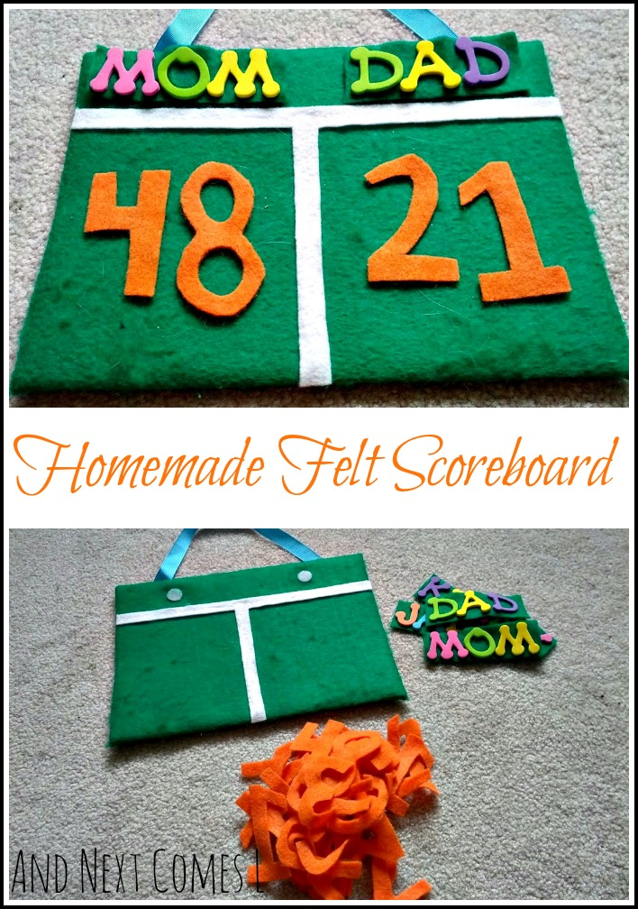 DIY no-sew felt scoreboard for kids from And Next Comes L