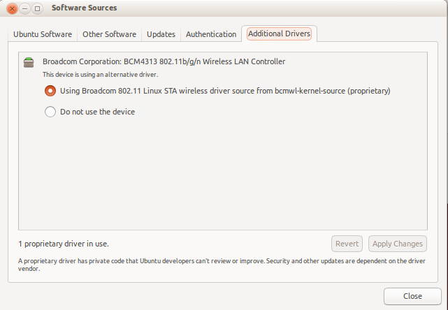 Ubuntu Additional Drivers 12.10