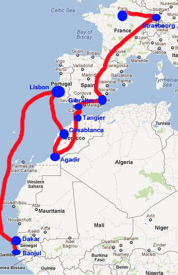 Map of trip from Paris to The Gambia