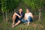 Peter und Helga König im Gespräch mit Carmen und Andreas Kurz, Weingut Schürmer/Franken