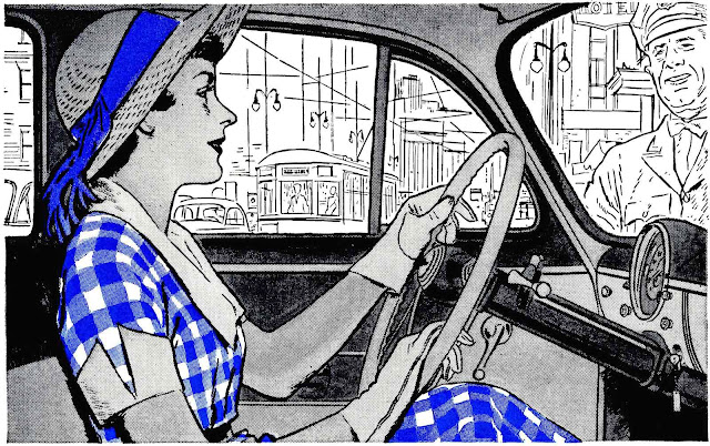 1950 two-colour illustration of interior woman driving car