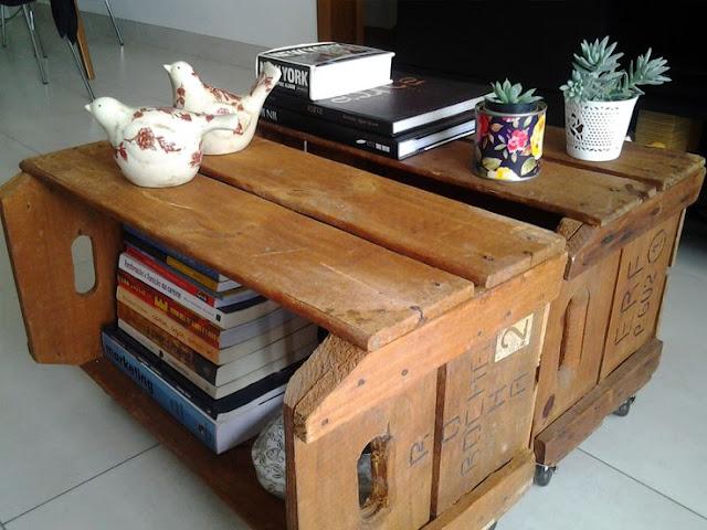 mesa de centro rústica, mesa de centro de caixotes