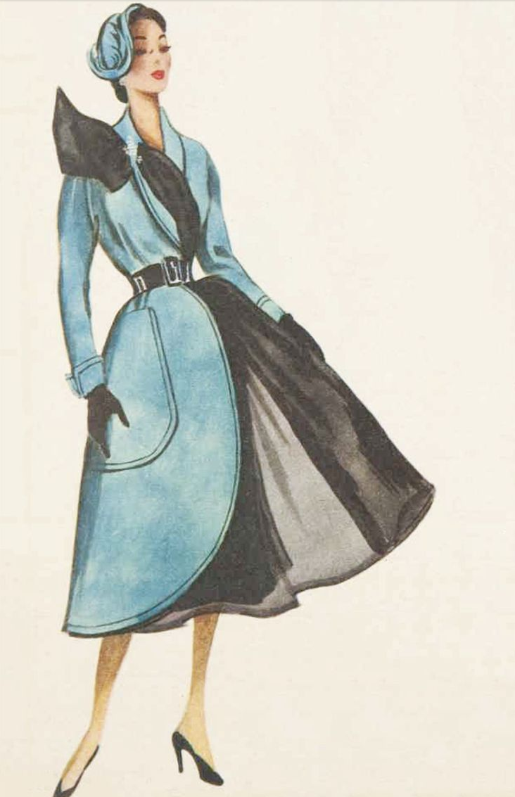 1950s Jacques Fath #vintage #coat #1950s #winter #blue #fashion #illustration