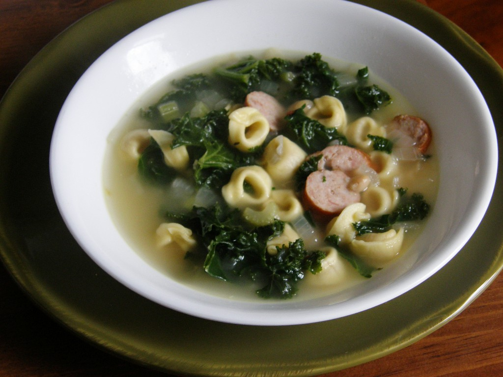Cheese Tortellini Soup With Cannellini, Kielbasa, And Kale Recipes ...