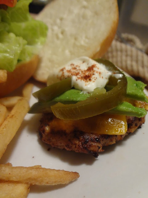 turkey burger slider with sour cream, jalapeno and avocado