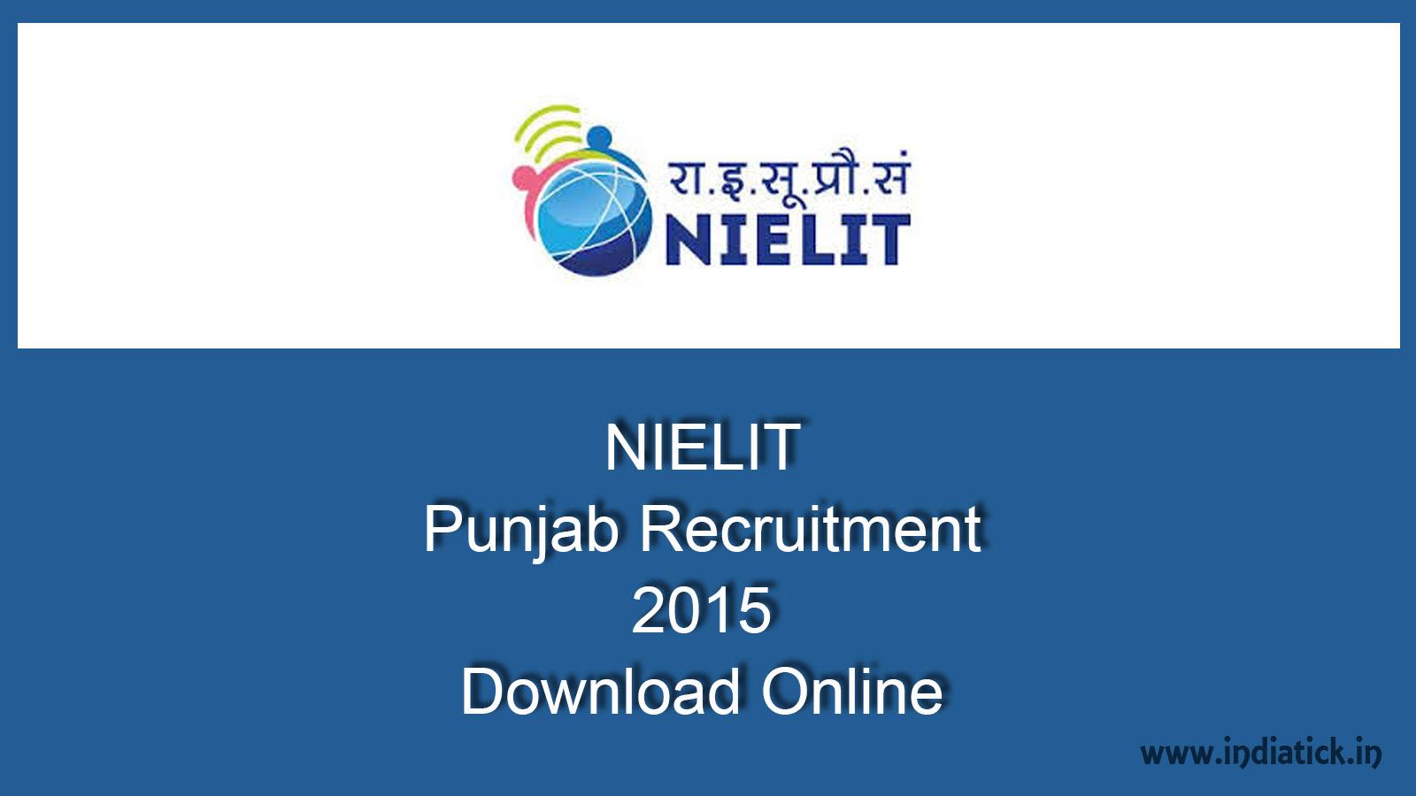 NIELIT Punjab Recruitment 2015 chandigarh.nielit.gov.in | India Tick