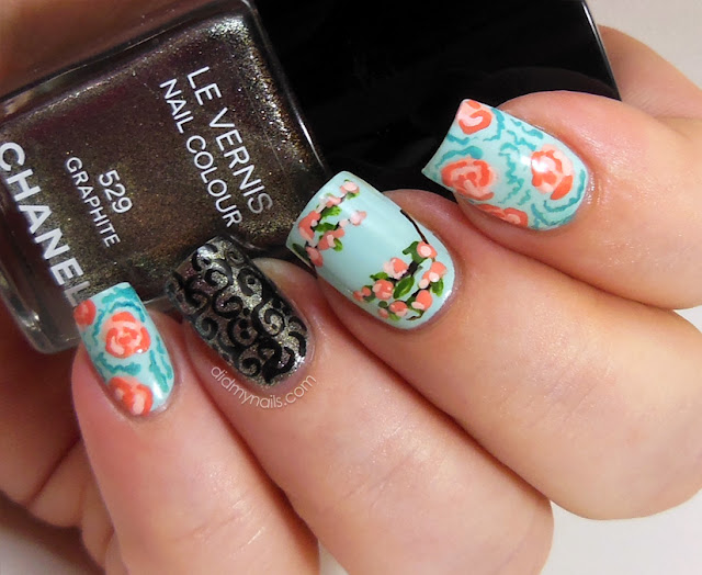 vintage flower and lace nail art