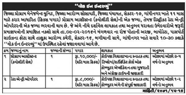District Heath Society Gandhinagar Recruitment 2016