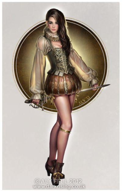 aly fell ilustrações mulheres sensuais fantasia sombria Tudor