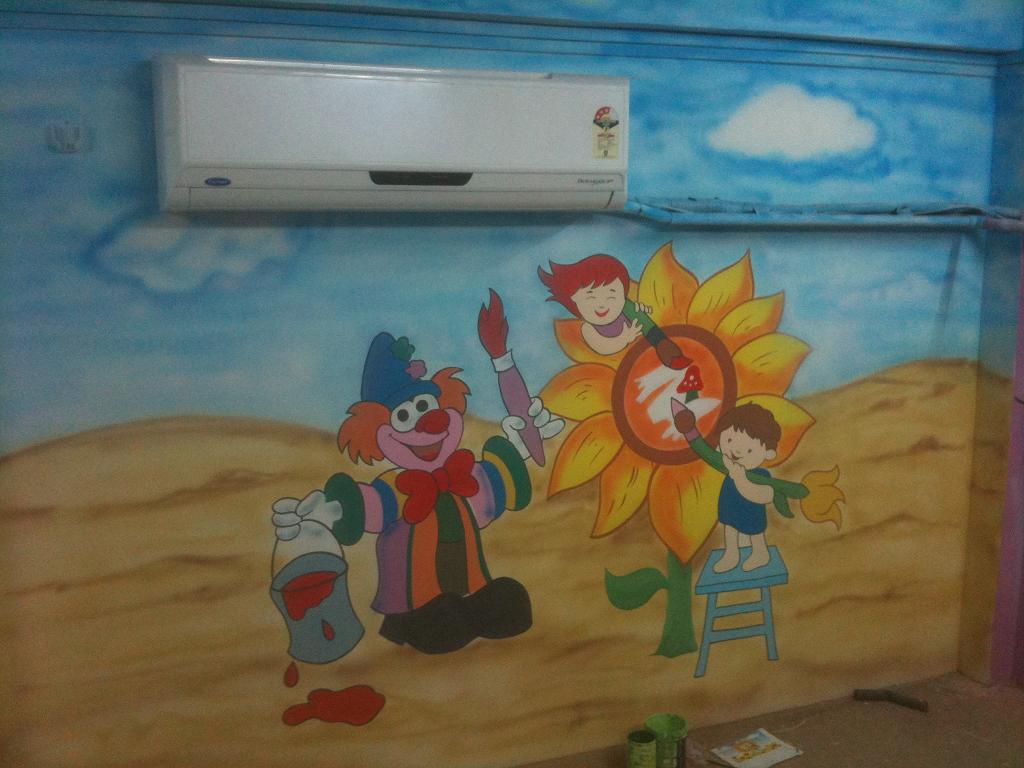 Day care classroom wall murals vile parle jogeshvari for Classroom wall mural