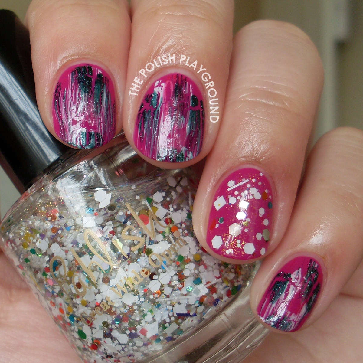 Distressed Shatter with Glitter Accent Nail Art