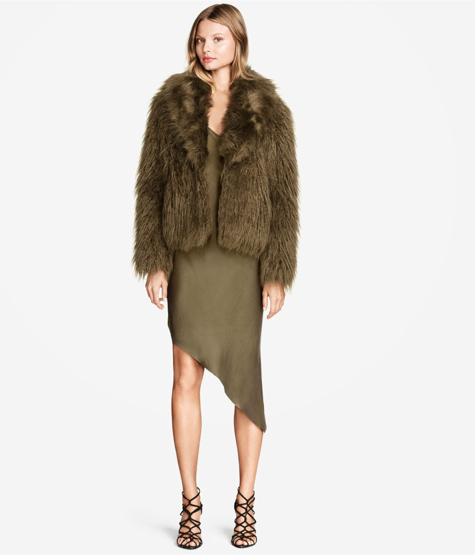 khaki green fur coat