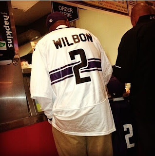 Michael Wilbon wore a Northwestern jersey to the Northwestern-Cal game.