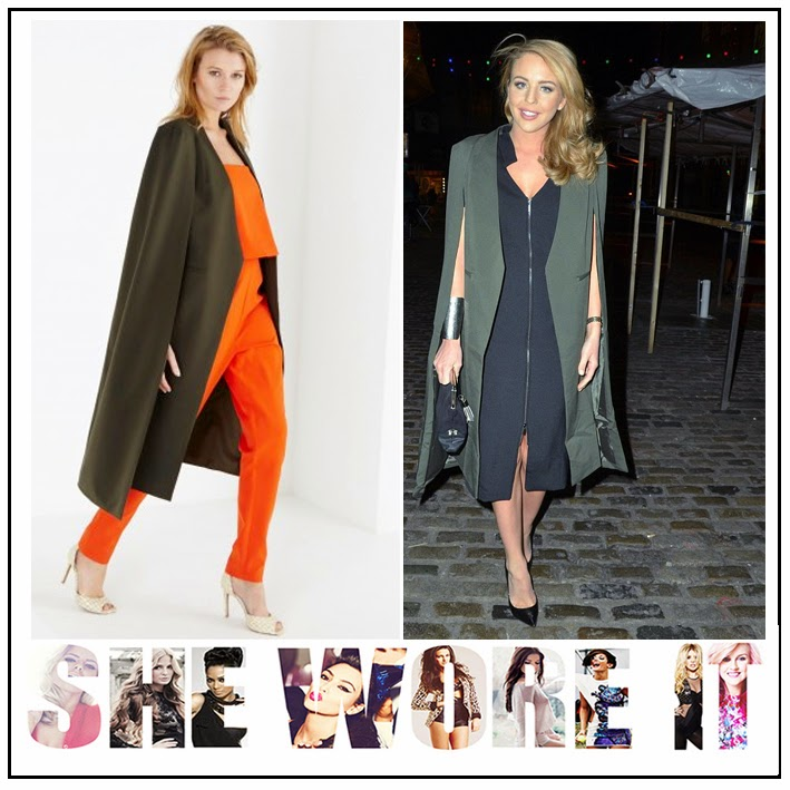Ballerina Flat, Cape Coat, Collarless, Cut Out Detail, Dune, Khaki Green, Lavish Alice, Leather, Lydia Bright, Pointed Toe, Reptile Print Lace Up, Shoes, Structured, Tailored, TOWIE, Celebrity Fashion,
