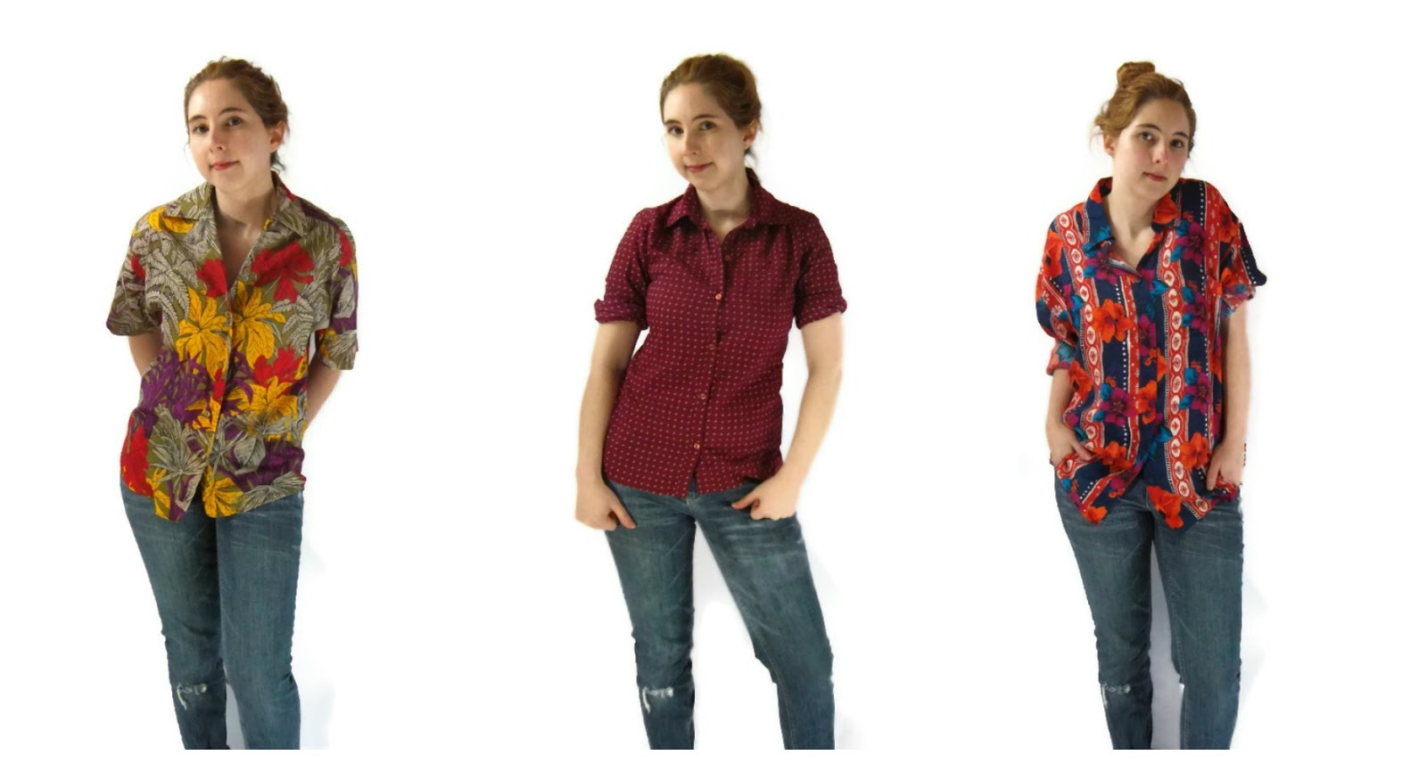 vintage hawaiian print blouses