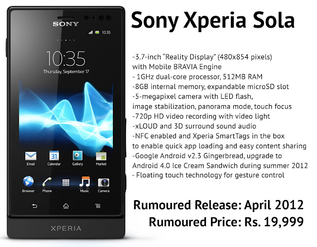 Sony Xperia Sola images and features photos 1